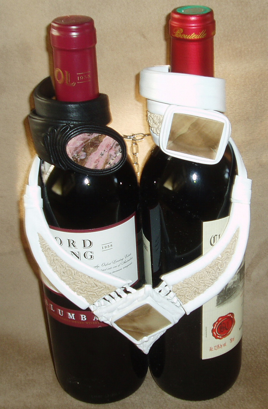 Leather Jewelery with Wine Bottles