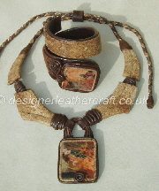 Leather Necklace and Cuff  Bracelet with Picture Jasper Stones
