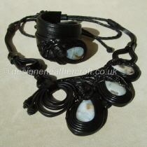 A Stunning New Design in Black Leather with Agate Cabouchons