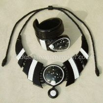 Black & White Leather Necklace & Cuff Bracelet with Jasper Stones
