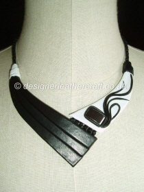 Black & White Leather Necklace with Hematite