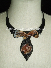 Black Leather Necklace with Jasper Stone and Brown Trim