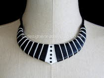 Black and White Leather Necklace with Tiny Black Crystals b