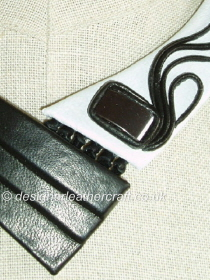 Black and White Leather with Hematite Stone