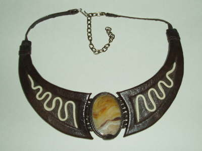 Brown Leather Necklace with Onyx