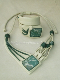 Creamy Leather Necklace & Bracelet with Green Jasper Stones