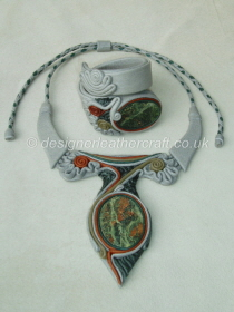 Grey Leather Necklace & Bracelet with Green & Terracotta Jasper Stones