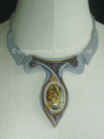 Grey Leather Necklace with Mustard Jasper Stone