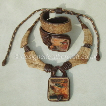 Leather Necklace and Bracelet with Picture Jasper Stones