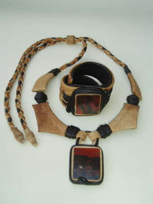 Necklace and Wristband Bracelet with Picture Jasper Slabs