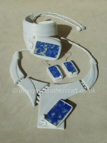 Pearly White Leather with Lapis Lazuli Stone