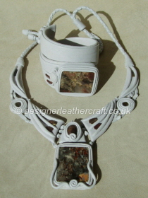 Pale Grey Leather Necklace & Cuff Bracelet with Jasper