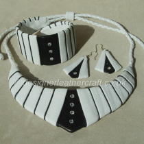 White and Black Leather Necklace, Cuff Bracelet and Earrings with Crystals